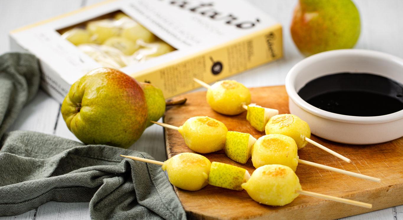 spiedini di gnocchi gorgonzola e pere