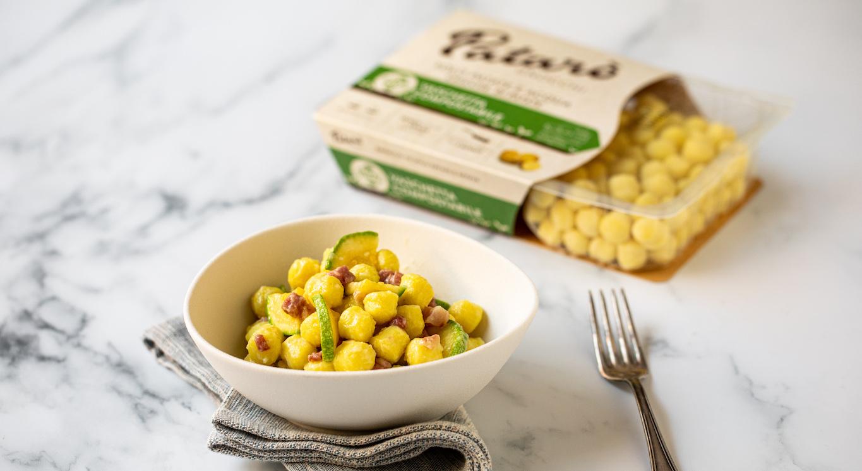 Gnocchi in crema di zucchine e pancetta
